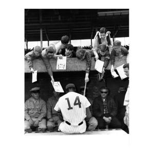 Ernie Banks Signing Autographs 1969 Photograph