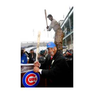 Ernie Banks Statue Pose Photograph