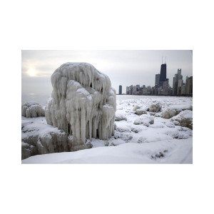Ice on North Avenue Beach Photograph