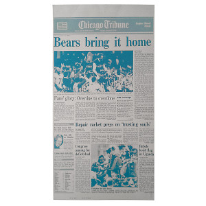 Chicago Bears 1985 Super Bowl Press Plate