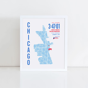 2015 Bank of America Chicago Marathon Map Personalized Print