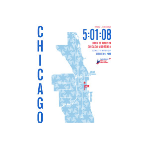 2016 Bank of America Chicago Marathon Map Stars Personalized Print
