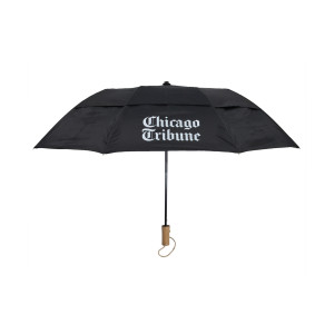 Chicago Tribune Stacked Logo Black Umbrella