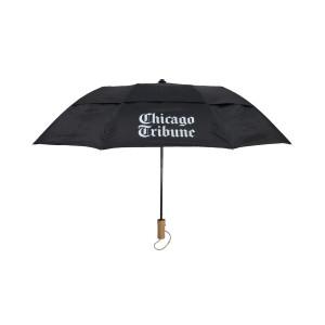 Chicago Tribune Stacked Logo Black Umbrella