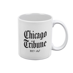 Chicago Tribune Stacked Logo White Mug