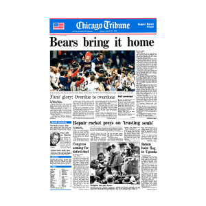 "Chicago Bears Super Bowl XX Tribune Front Page: ""Bears bring it home"""