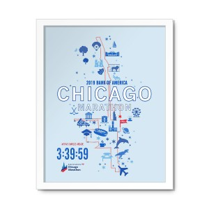 2019 Personalized Bank of America Chicago Marathon Map