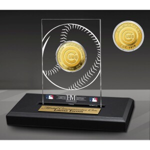 Chicago Cubs 3-Time Champions Acrylic Gold Coin