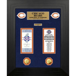 Chicago Bears Super Bowl Champions Deluxe Gold Coin & Ticket Collection