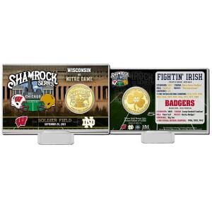 Wisconsin vs. Notre Dame 2021 Shamrock Series Bronze Coin Card