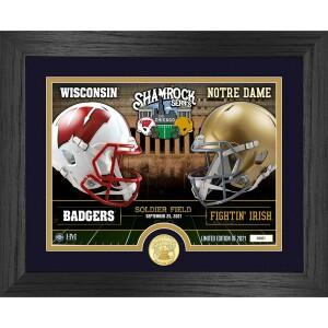 Wisconsin vs. Notre Dame 2021 Shamrock Series Bronze Coin Photo Mint