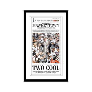 """Two Cool"" 2013 Blackhawks Championship Hawkeytown Poster"