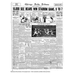 Bears 1930 Indoor Game vs the Cardinals - Tribune Front Page Poster