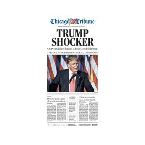 "Chicago Tribune 11/9/2016 ""Trump Shocker"" Front Page Poster"