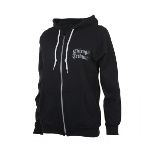 Chicago Tribune Stacked Logo Black Women's Soft Zip Up Hoodie