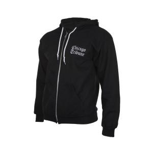 Chicago Tribune Stacked Logo Unisex Adult Black Zip Up Hoodie