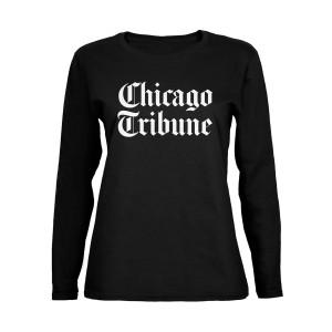 Chicago Tribune Stacked Logo Black Women's Soft Long Sleeve T-Shirt