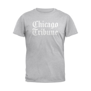 Chicago Tribune Stacked Logo Heather Grey Unisex Adult T-Shirt