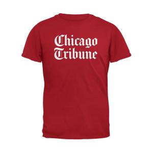 Chicago Tribune Stacked Logo Red Unisex Adult T-Shirt
