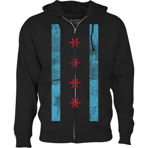 Chicago Flag T-shirt Hoodie - Black