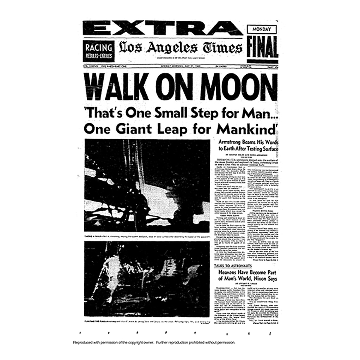 Historical Front Page - Walk On Moon