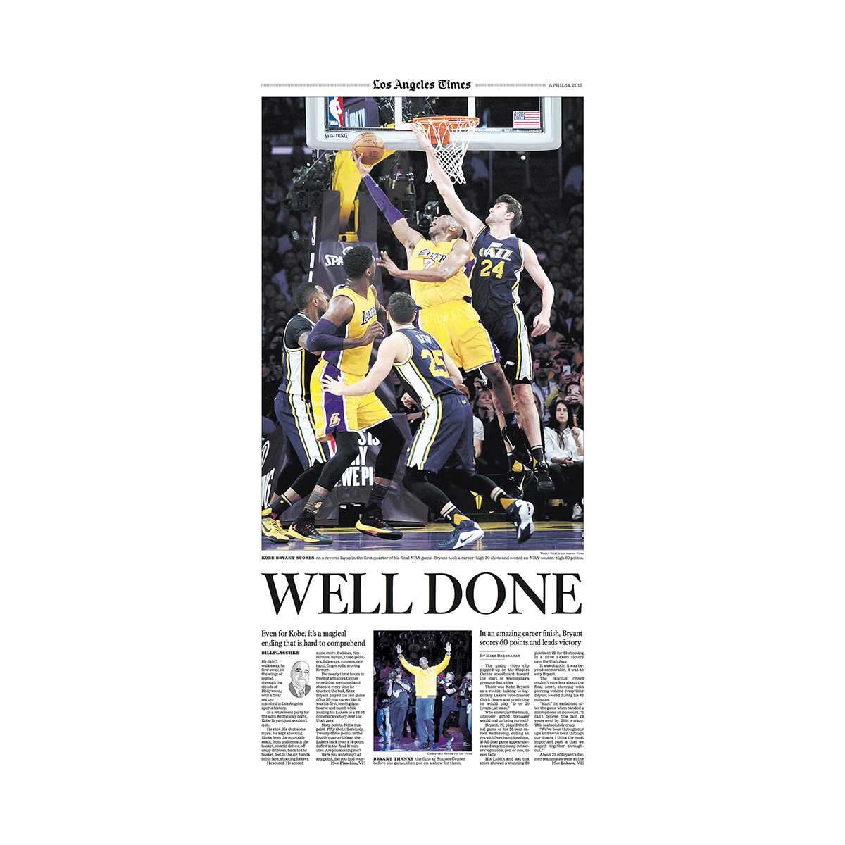 """""""Well Done"""" Kobe Bryant Sports Commemorative Page"""