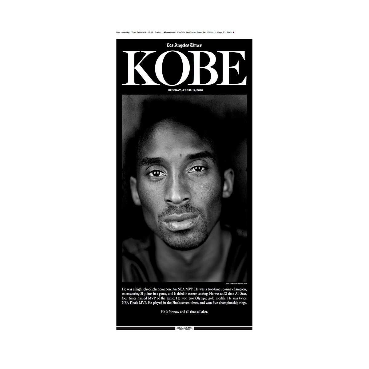 Kobe Bryant Special Section Commemorative Front Page