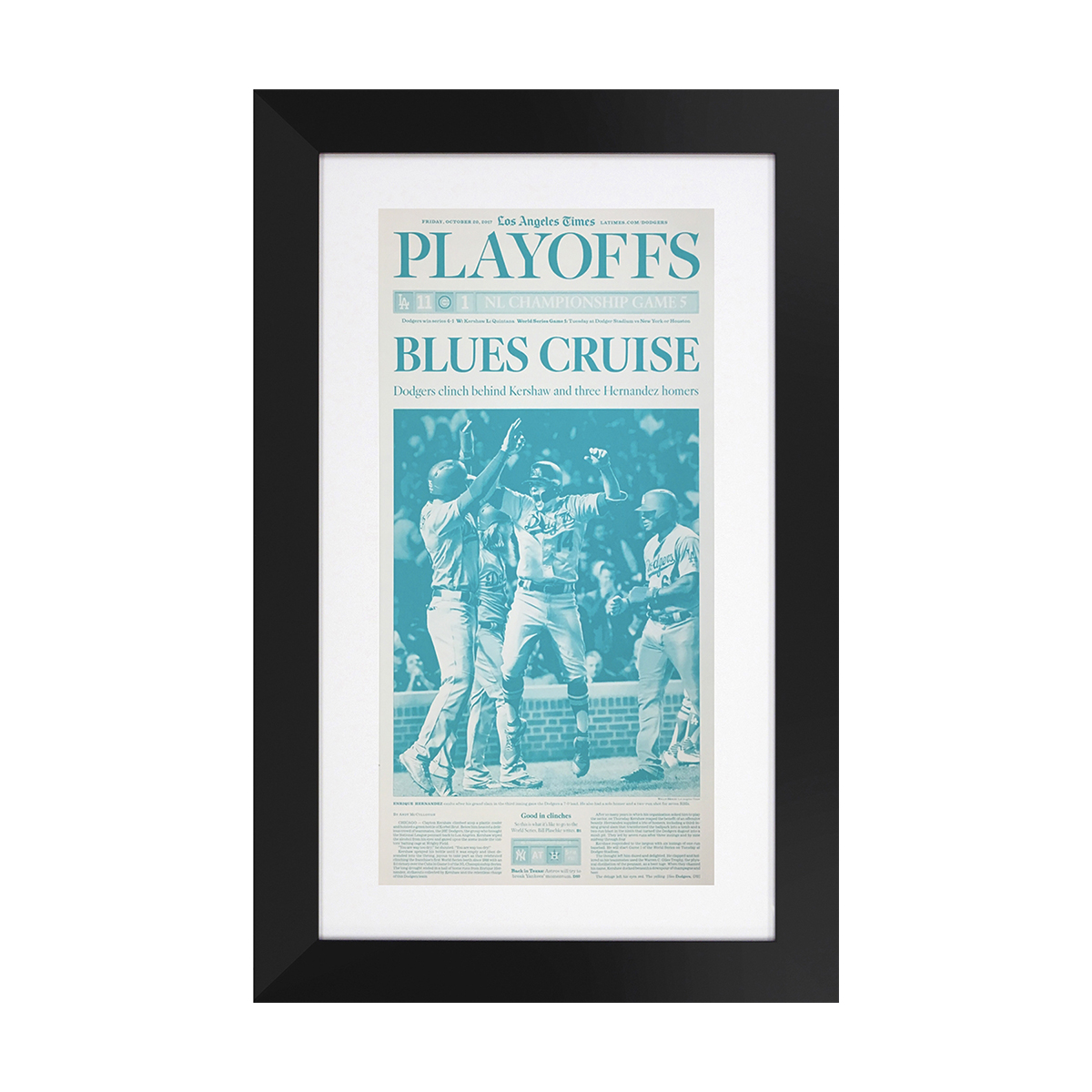 Los Angeles Dodgers NLCS 10/20/2017 Sports Front Page Press Plate