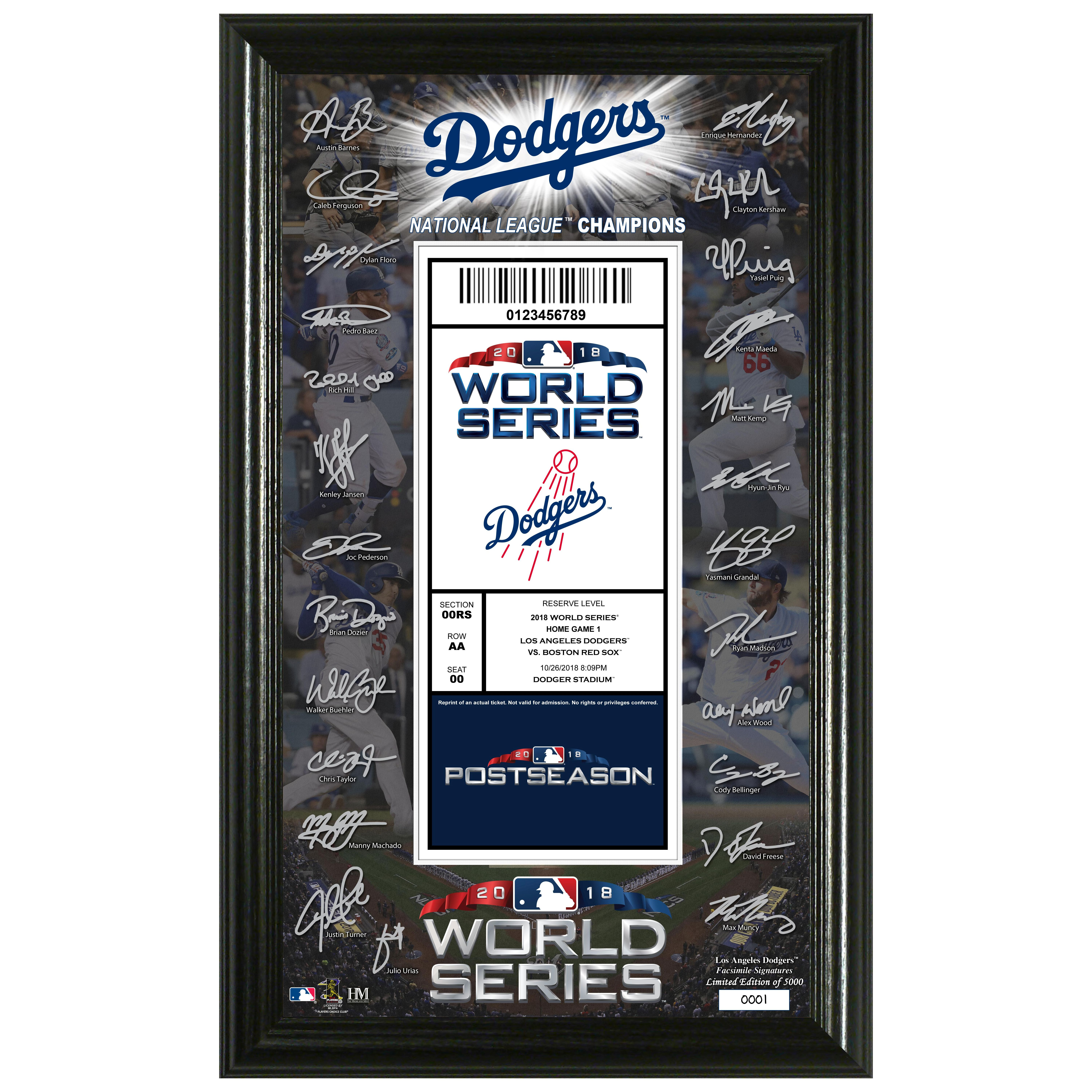 Los Angeles Dodgers 2018 World Series Signature Ticket