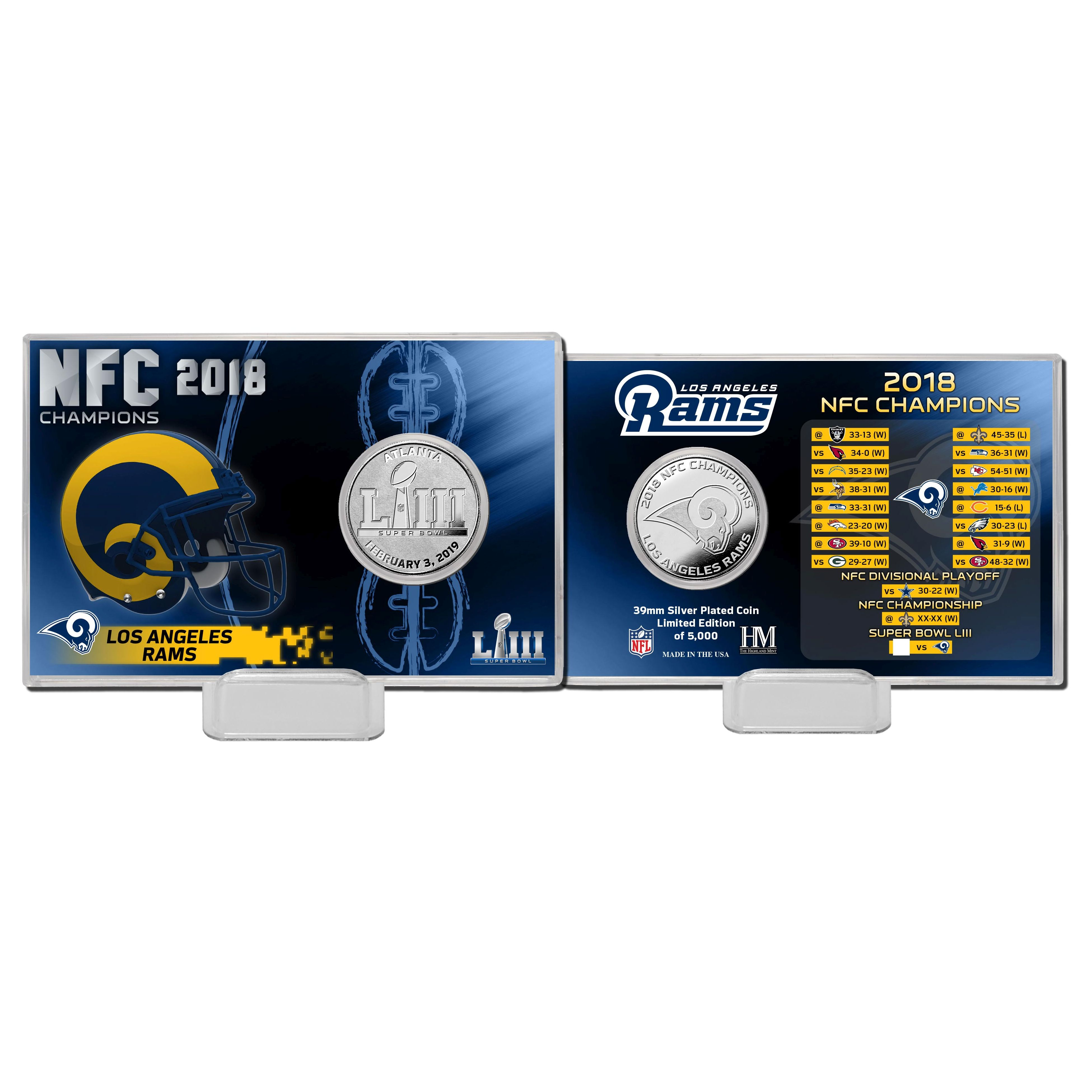 Los Angeles Rams 2018 NFC Champions Silver Coin Card
