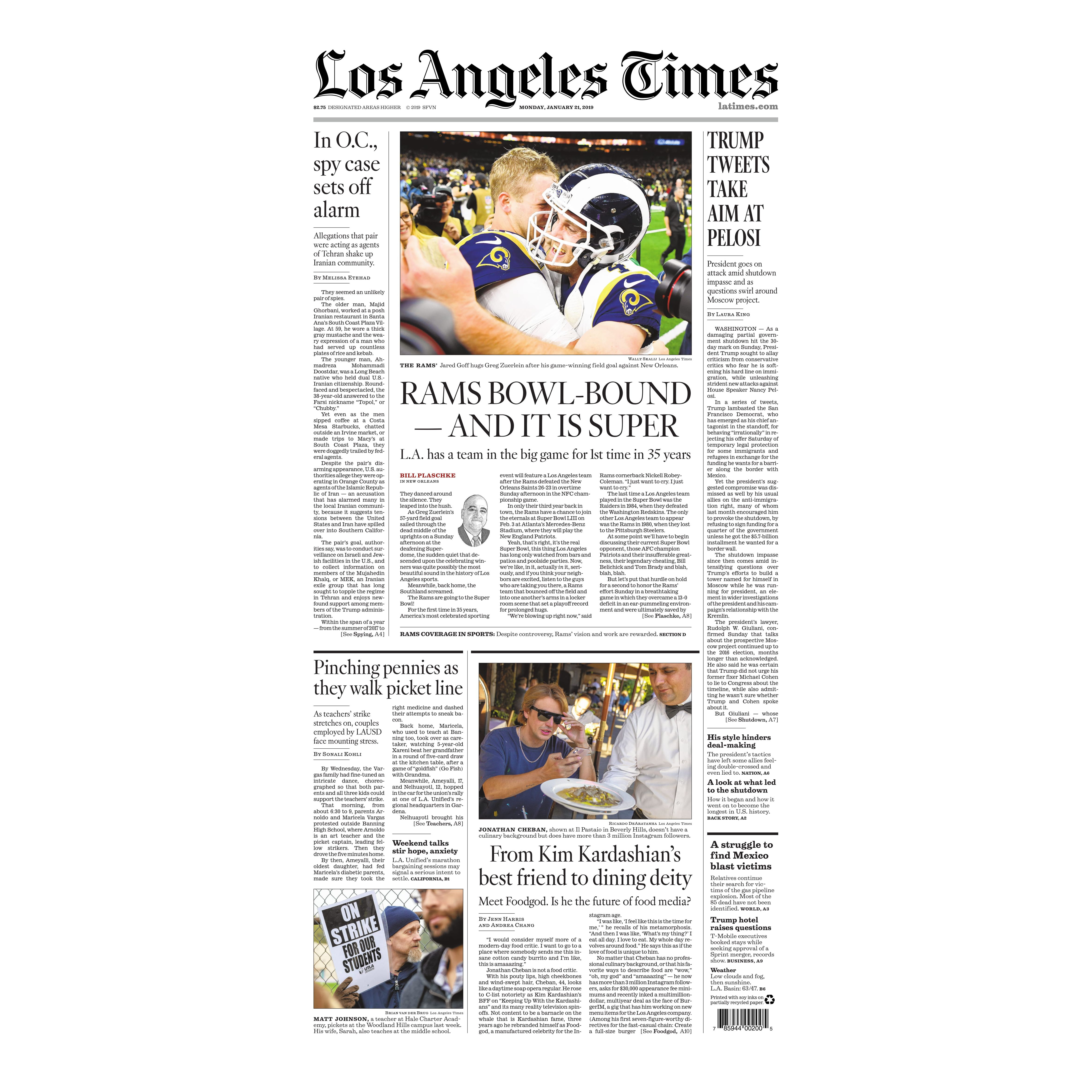 Los Angeles Times Back Issue - 1/21/19