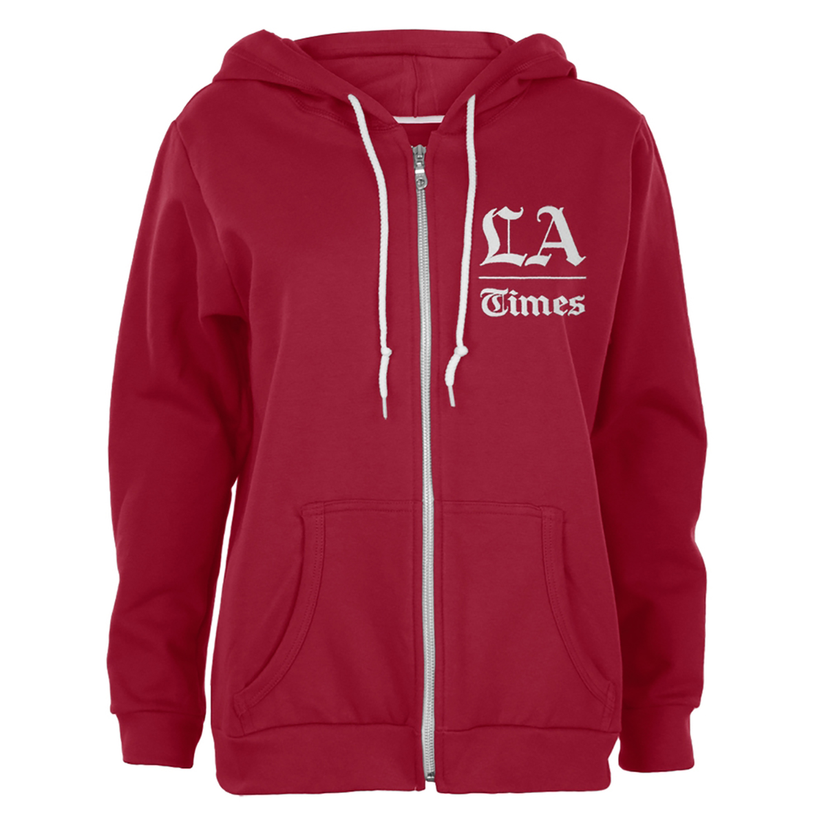 Los Angeles Times Stacked Logo Red Juniors Soft Zip Up Hoodie