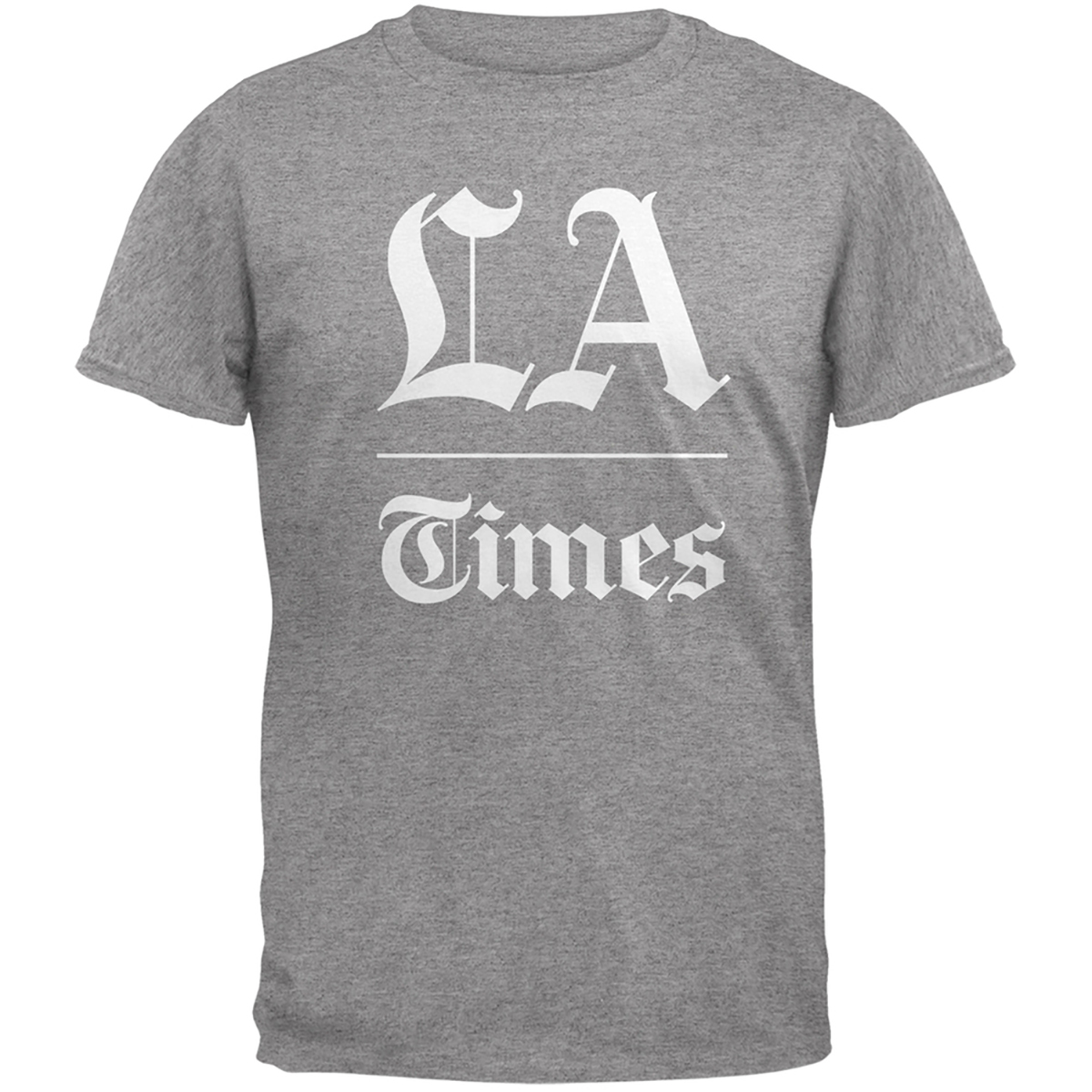 Los Angeles Times Stacked Logo Heather Grey Adult T-Shirt
