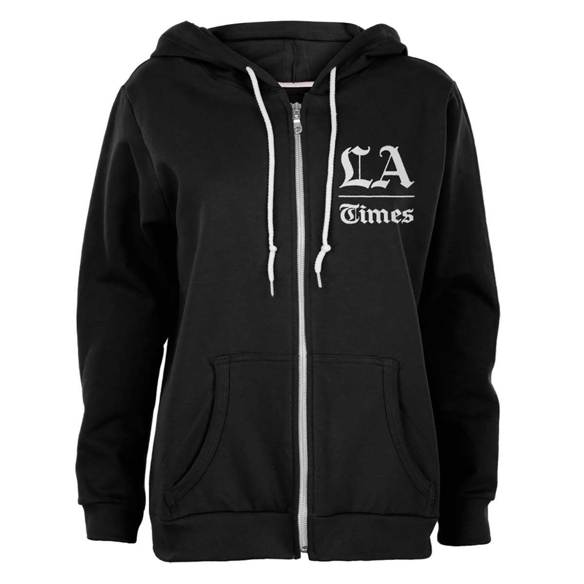 Los Angeles Times Stacked Logo Black Juniors Soft Zip Up Hoodie