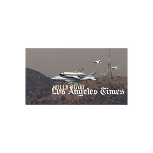 Space Shuttle Endeavour Hollywood Sign Flyover Photo