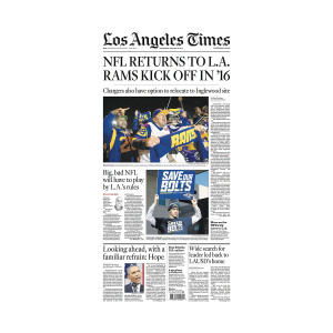 """NFL Returns to LA"" Front Page Printing Plate"
