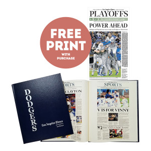 Los Angeles Dodgers Personalized Newspaper Book with Free 2018 NLCS Championship Print