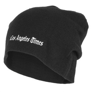 Los Angeles Times Standard Logo Black Slouch Beanie