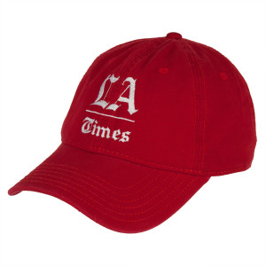 Los Angeles Times Stacked Logo Red Adjustable Cap