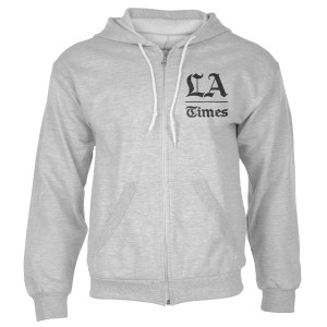 Los Angeles Times Stacked Logo Adult Heather Grey Zip Up Hoodie
