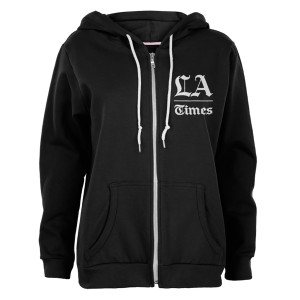 Los Angeles Times Stacked Logo Black Juniors Soft Zip Up Hoodie