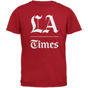 Los Angeles Times Stacked Logo Red Adult T-Shirt