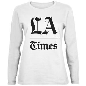 LA Times Stacked Logo White Long Sleeve Women's T-Shirt