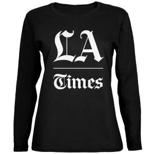 LA Times Stacked Logo Black Long Sleeve Women's T-Shirt