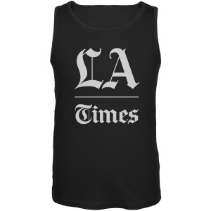 LA Times Stacked Logo Black Adult Tank Top