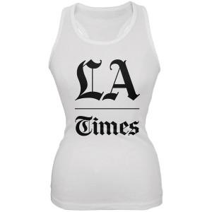 LA Times Stacked Logo White Women's Tank Top