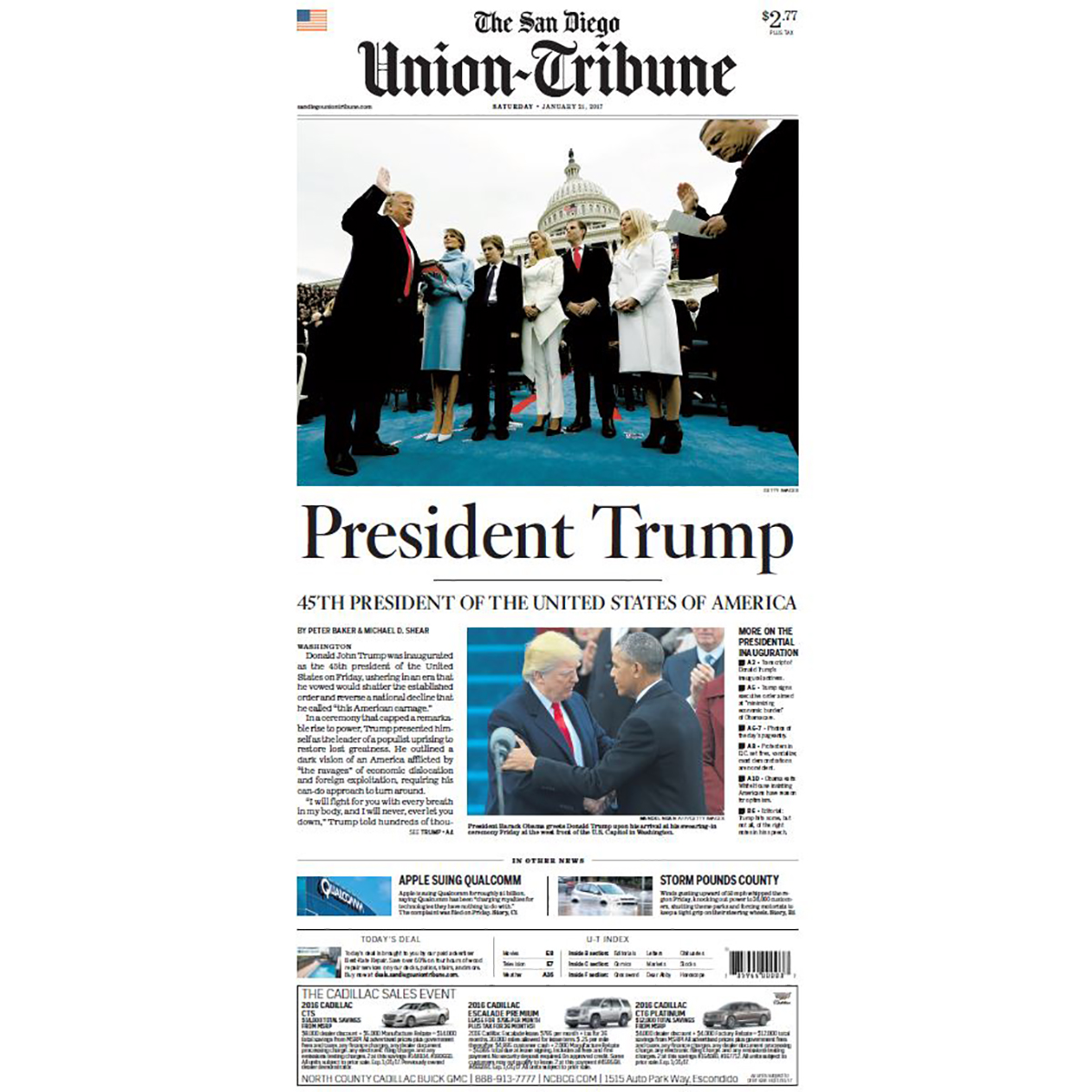 "San Diego Union-Tribune 1/21/2017 ""President Trump'"" Front Page Poster"