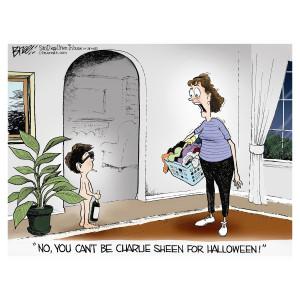 Charlie Sheen for Halloween Cartoon by Steve Breen