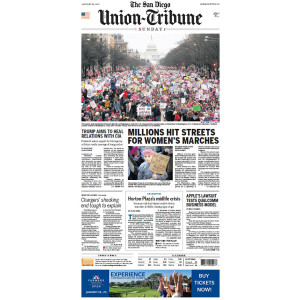 "San Diego Union-Tribune 1/22/2017 ""Millions Hit Streets for Women's Marches'"" Front Page Poster"