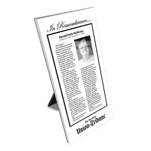 San Diego Union-Tribune Keepsake Obituary Plaque